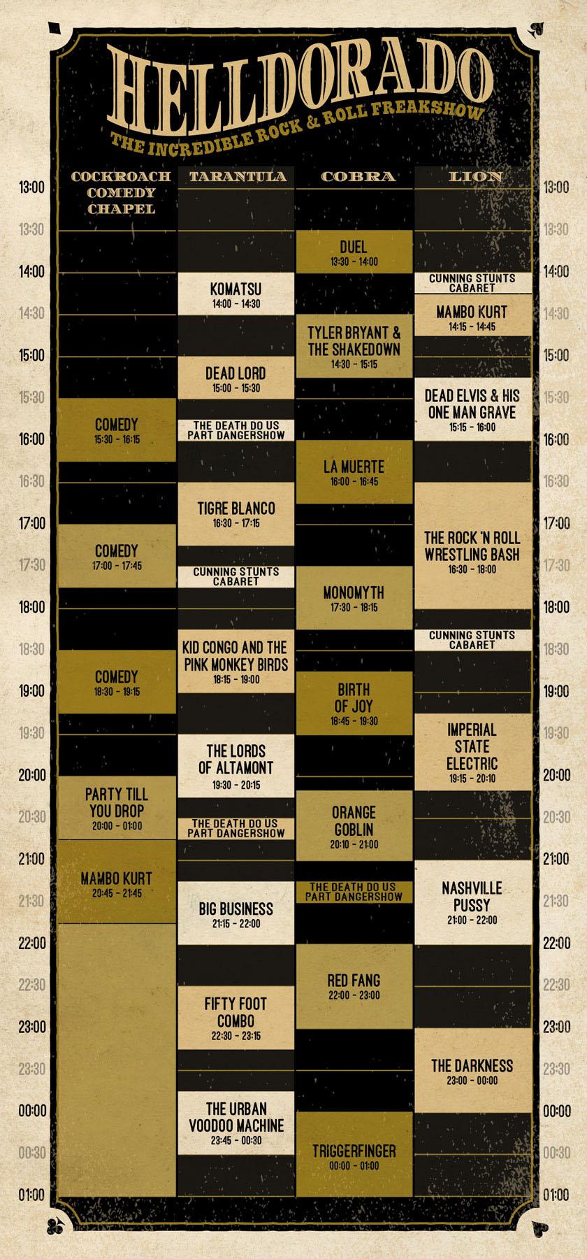 Helldorado-timetable