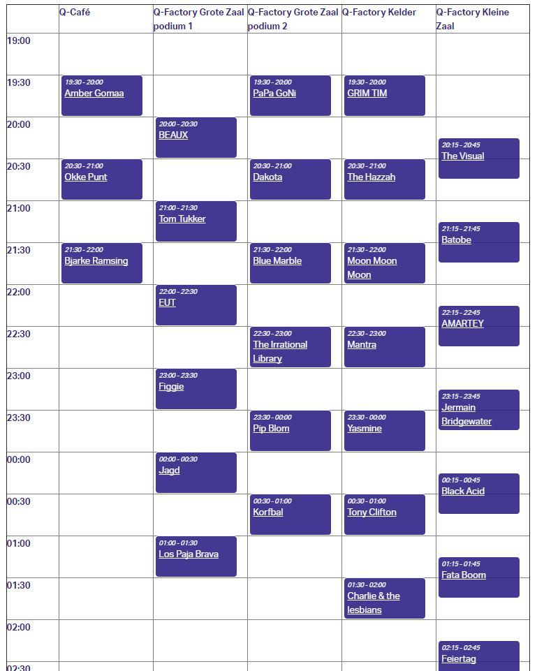 timetable Popronde Amsterdam