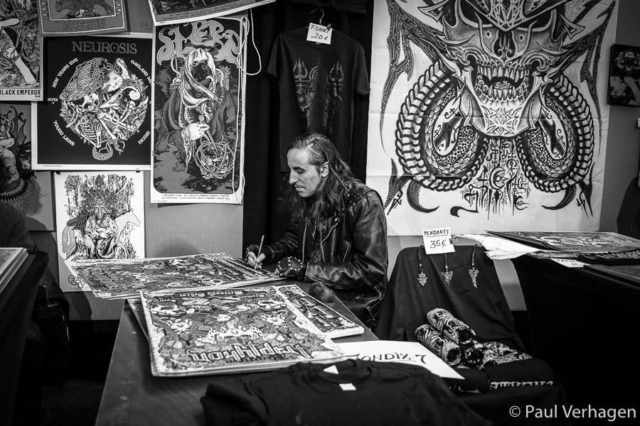 Full Bleed Expo: Jondix signing Triptykon artwork he and David D'Andrea made. Photo: Paul Verhagen