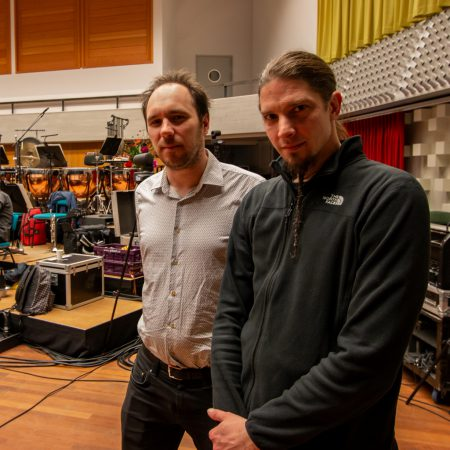 Robert Soomer (left) and Florian Magnus Maier at the Metropole Orkest's rehearsal studio in Hilversum, March 2019, photo Mark van Schaick