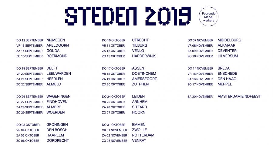 Popronde 2019 steden