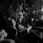 Nergal during panel discussion, Photo: Justina Lukosiute
